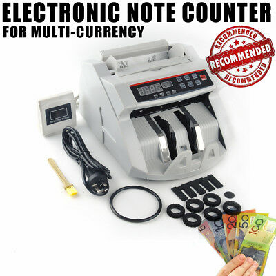 Money Bill Counter Counting Machine Counterfeit Detector Cash Bank LCD Display