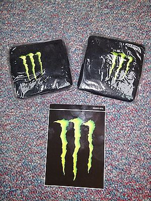 2 embroidered Monster Energy Wrist band sweatbands Plus 1 Monster Sticker Decal