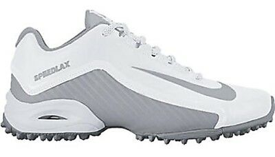 NEW Nike Womens SPEEDLAX 5 sz 10.5 WHITE Gray Lacrosse Football Shoes Cleats