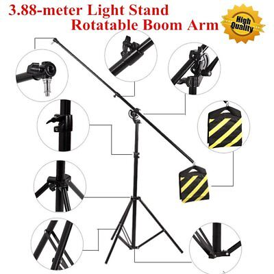 3.88-meter 2-in-1 Rotatable Boom Arm Light Stand Kit With Sand Bag & Carry Bag