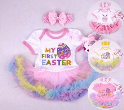 Baby Girl 2 Pcs My First Easter Dress Tutu Set Party Costume Size 00,00,0,1,2