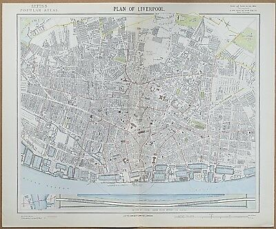 1883 Liverpool Antique Map Street Plan Lett's