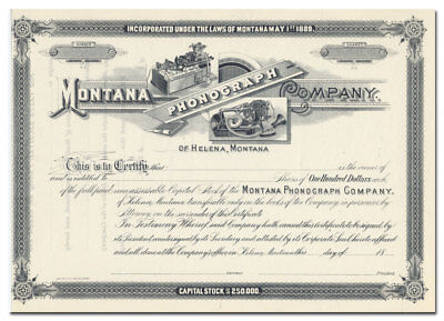 Montana Phonograph Company Stock Certificate