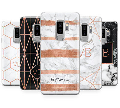 Personalised Rosegold Marble/initials Mobile Phone Case For Samsung Galaxy S9