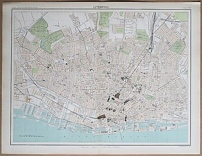 c1898 Liverpool Antique Map Street Plan Bartholomew
