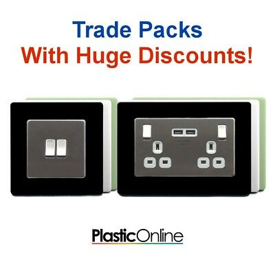 Trade Price Switch Socket Surround, Single and Double, Clear Black White Glow