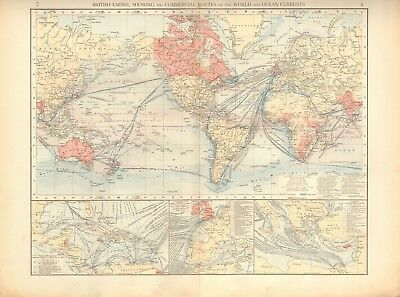 1900 Antique Map- British Empire Showing Commercial Routes And Ocean Currents