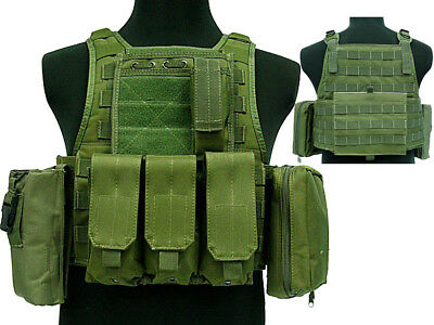 Tactical 027 Molle Combat Vest Magazine Pouch Airsoft Paintball Military OD