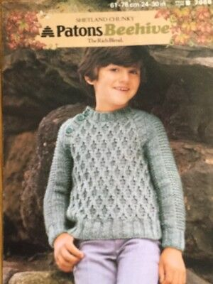 Patons Chunky Knitting Pattern Boys Sweater Jumper Size 2430