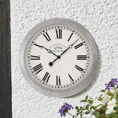 Outside In Biarritz Wall Garden Outdoors Weather Resistant Clock