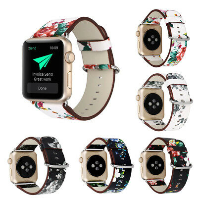Flower Bracelet Strap PU Leather Wrist Band For Apple iwatch 38/42mm Series1 2 3