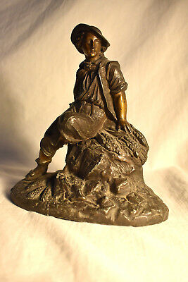 Antique 1800's Spelter French Figural Young Man Sculpture Figarine