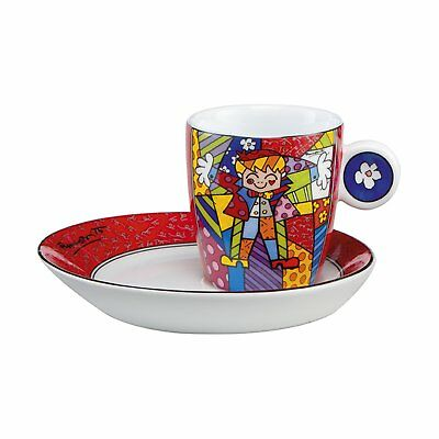 Goebel  Romero Britto Hug Too Coffee Cup and Saucer
