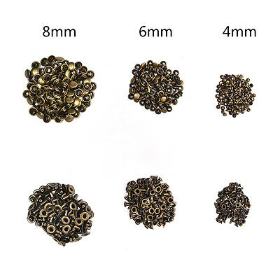 100X 3 Sizes Brass Double Cap Leather Craft DIY Rapid Rivet Studs for Belts Nice