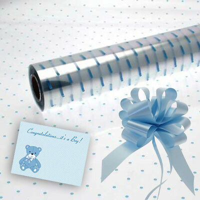 Blue Dot Cellophane Baby Boy Gift Wrap Baby with Free Pull Bow Ribbon & Card