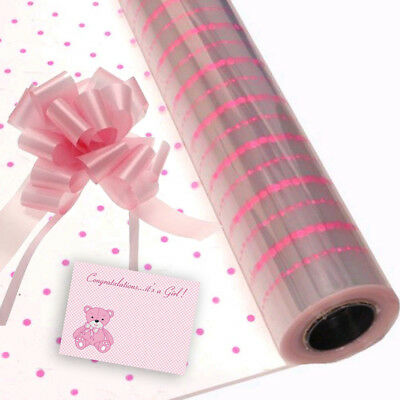 Pink Dot Baby Girl Cellophane Gift Wrap Baby Shower Free Pull Bow Ribbon & Card