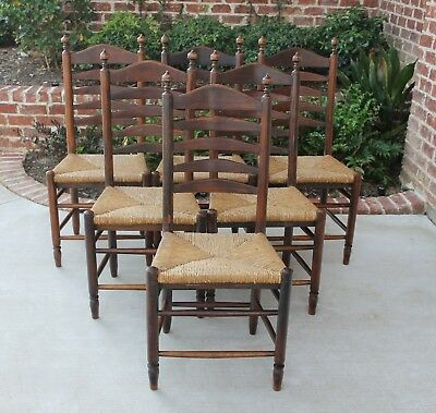 Antique French Country Oak SET 6 Farm Farmhouse Ladder Back Chairs Rush Seats