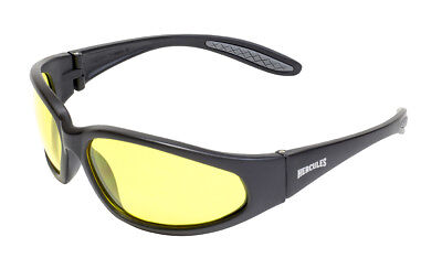 Unbreakable Yellow Tinted motorcycle sunglasses UV400 Biker glasses + Free Pouch