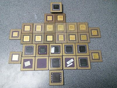 Lot of 30 Ceramic Gold Pinned AMD/Intel/Cyrix CPUs for PM Recovery