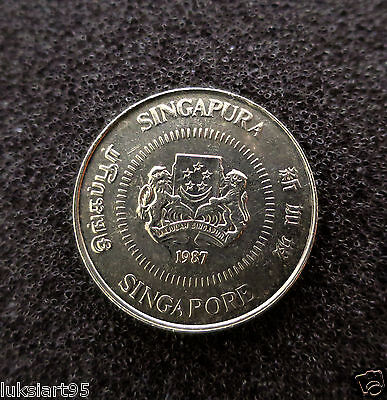 Singapore Ten 10 Cents 1987 Singapura Coin Coins Copper Nickel Ribbon Upwards Vf