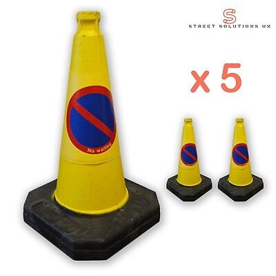 "Pack of 5 - 50cm ""No Waiting/ No Parking"" - Traffic Cones - BRAND NEW"