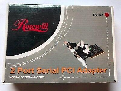 Rosewill 2 Port Serial PCI Adapter Model RC-301 - New in factory sealed box