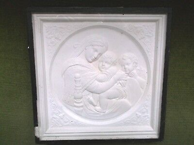 Antique 19Th Century Religious Plaster Relief Plaque, Framed And Glazed