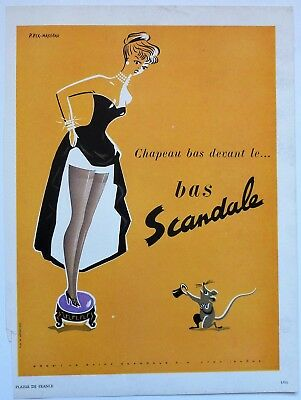 Fabulous 1951 Image for Scandale, by P.Fix-Masseau - Mouse and Hosiery
