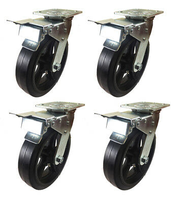 """8"""" x 2"""" Heavy Duty """"Rubber on Cast Iron"""" Caster - 4 Swivel with Total Lock Brake"""