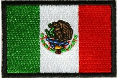 """(C35) MEXICAN FLAG 3"""" x 2"""" iron on patch (2984) Biker Mexico"""