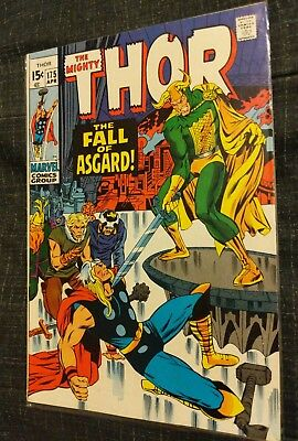 The Mighty Thor # 175 Vf-Fn 7.0 Marvel 1970 The Fall Of Asgard Loki Bronze Age