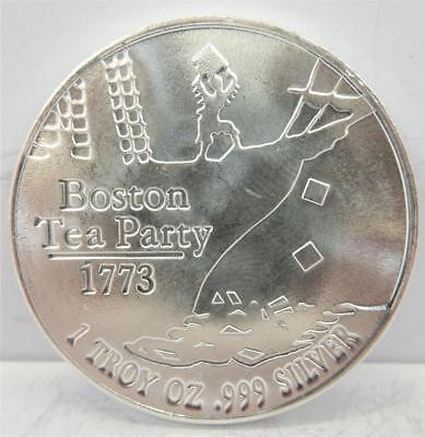 "Boston Tea Party 1773, .999 Silver 1oz Round, ""Don't Tread On Me""   #H33"