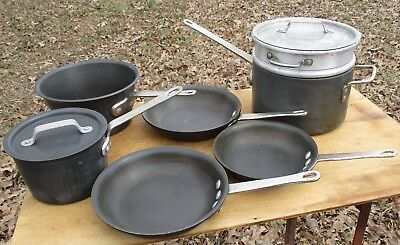 9 Piece Lot Of Commercial Cookware Toledo Anodized Pan Skillet Steamer Pot Lid