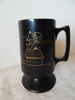 Vintage Rare Snoopy Red Baron Buntingware Footed Coffee Cup Mug