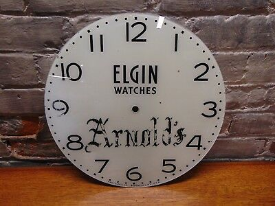 "Vintage and Rare ~ ""Elgin Watches Arnold's"" Pam Clock Face ~ 14.5"" ~"