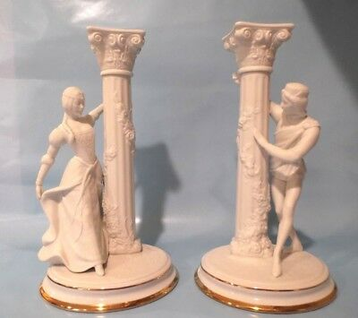 "Franklin Mint 10"" Romeo & Juliet Candlesticks~White Porcelain W/ Gold Gorgeous"