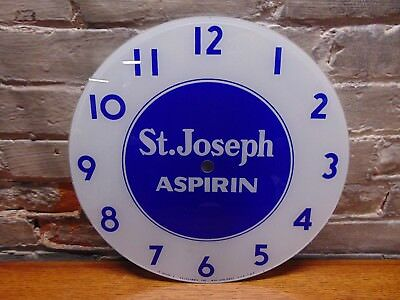 "Vintage  ~""St. Joseph Asprin"" Advertising ~ Telechron Clock Face"