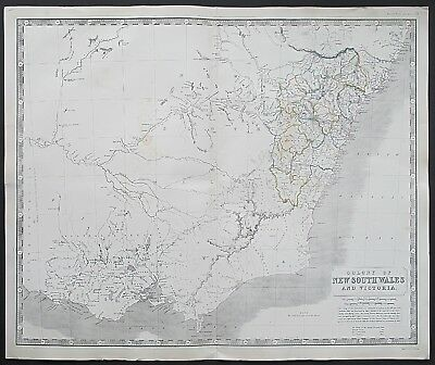 c1848 Australia Colony of New South Wales & Victoria Johnston Large Antique Map