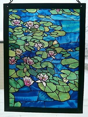 Glassmasters Lily Pond Stained Art Glass Window Panel Tableau Suncatcher
