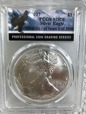 2017 1oz Silver Eagle PCGS MS70 - First Day Issue - Bald Eagle Label 1 of 1,000