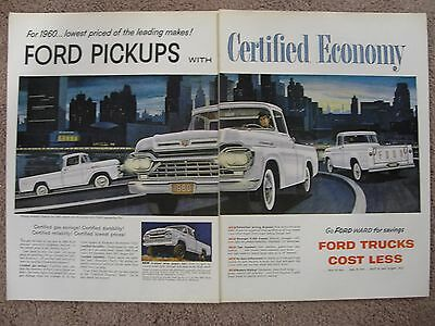 1960 Ford 4X4 Pickup  & Regular Pickup Large 2 Page Color Ad