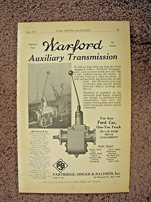 1922 Warford Ford Transmission Full Page Ad