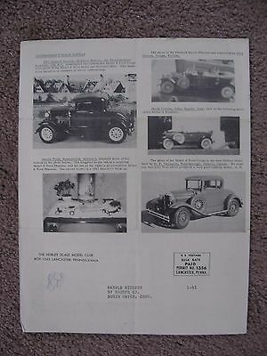 1961 Hubley Scale Model Club News The Old Metal Models