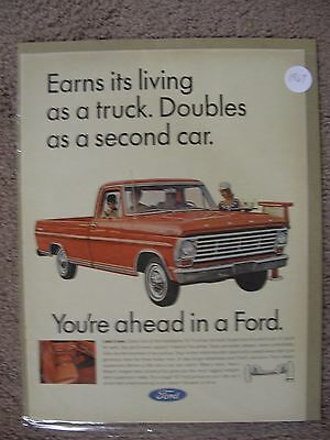 1967 Ford Pickup Truck Large Full Page Color Ad