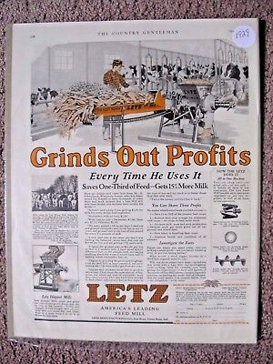 1929 Letz Corn Hopper For Making Cattle Feed Large Full Page Ad