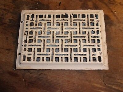 Vintage 8 x 12 Ornate Art Nuvo Cast Iron Floor Register Heat Grate With Louvers