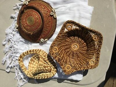 3 nice handwoven baskets: Gullah, Seminole Indian and mysterious one