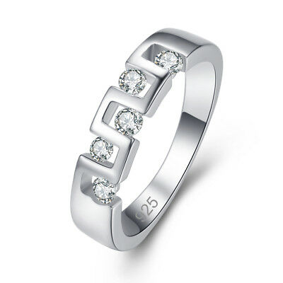 Classic Round Cut White Topaz Gemstone Silver Fashion Ring Size 6 7 8 9 Gifts