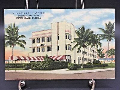 1940s Linen Postcard Of The Corsair Hotel Miami Beach Florida Art Deco