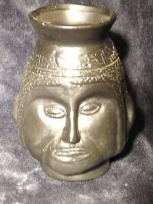 Egyptian head urn vase Unusual water black clay pottery